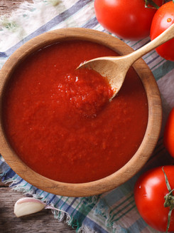 tomato sauce with garlic and basil in a