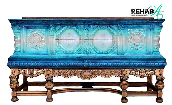 Metallic Blue Hues Jacobean Sideboard