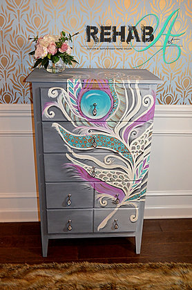 """""""The Glamorous Feather"""" Chest of Drawers Custom Design"""
