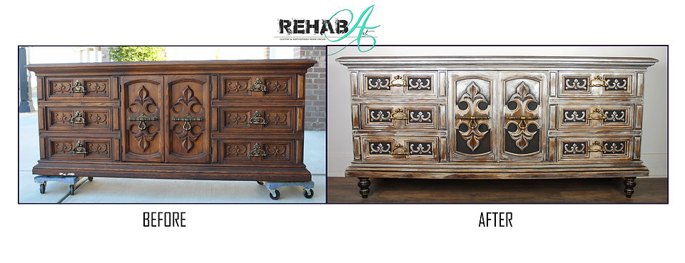 mixed metal barn wood credenza before an