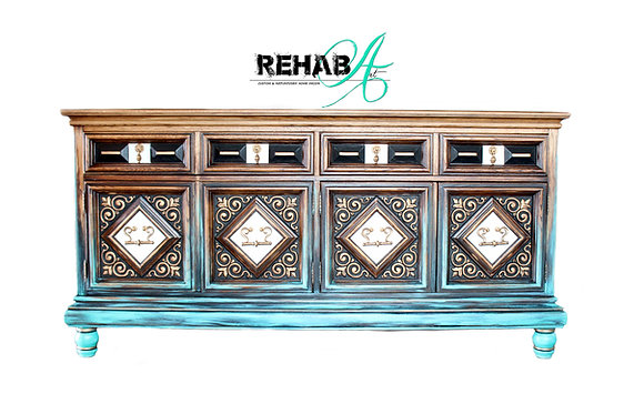 Aqua Dipped Carved Scroll Credenza