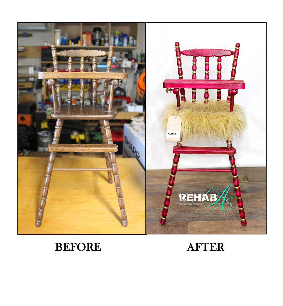Hot Pink and Gold Doll hgh Chair Before