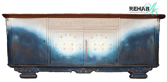 Scrolled Rusty Navy XLONG Credenza