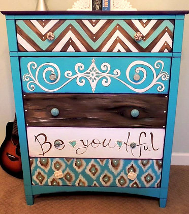 """Be*You*Tiful""        Hand Painted Dresser"