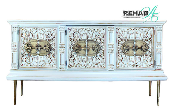 Scrolled Cream Glazed Brass Credenza