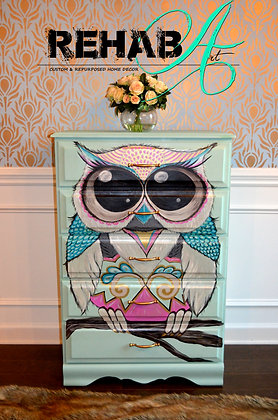 """The Whimsical Owl"" Chest of Drawers Custom Design"