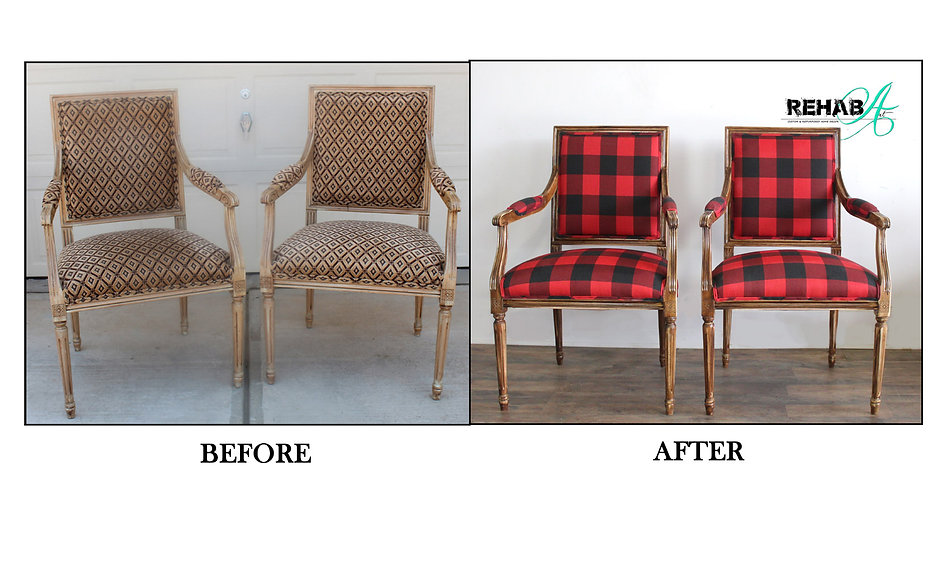 Lumber jack plaid chairs before and afte