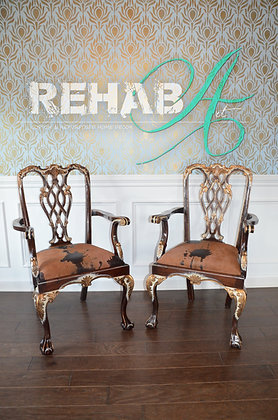 """Gold Guilded Feathered Creme"" Antique Chipendale Chairs"