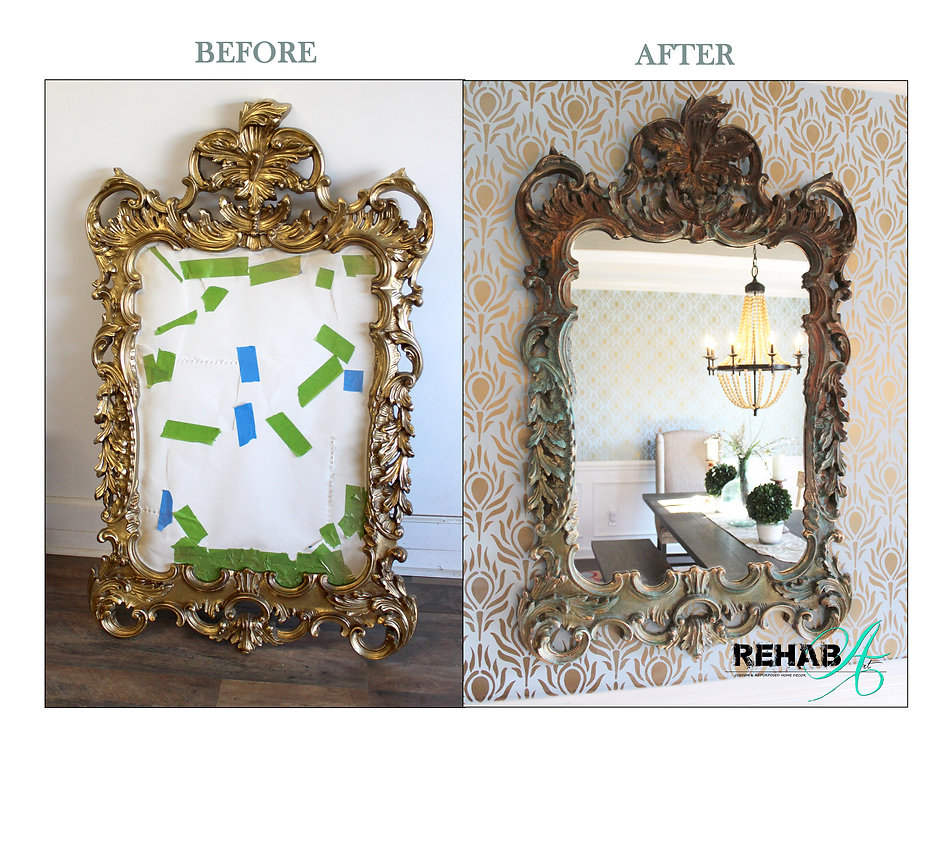 Zenia Scrolled Patina Mirror Before and