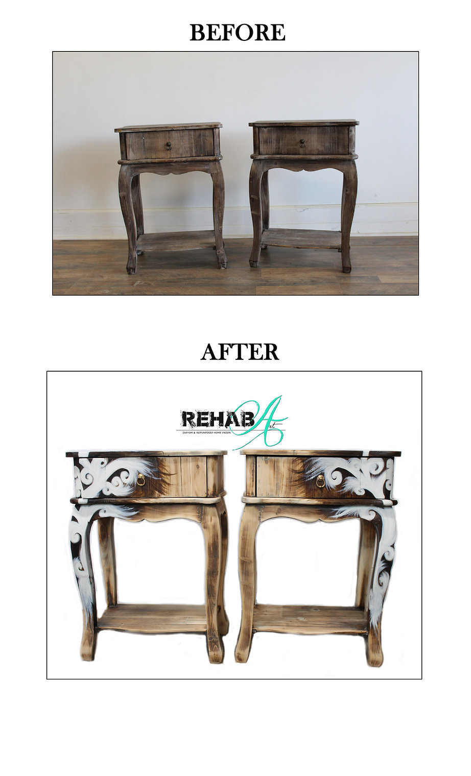Greenwich Village End table Before and A