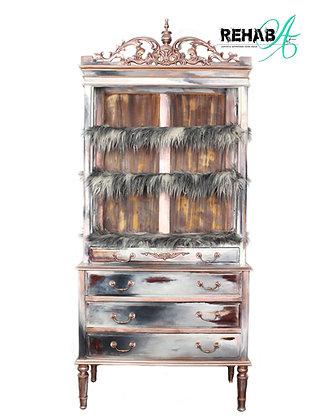 Rose Gold Faux Fur Bookshelf - Dresser