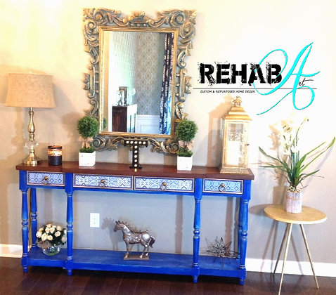 """Blue and Tonic"" Console Table Cobalt Gold Finish"