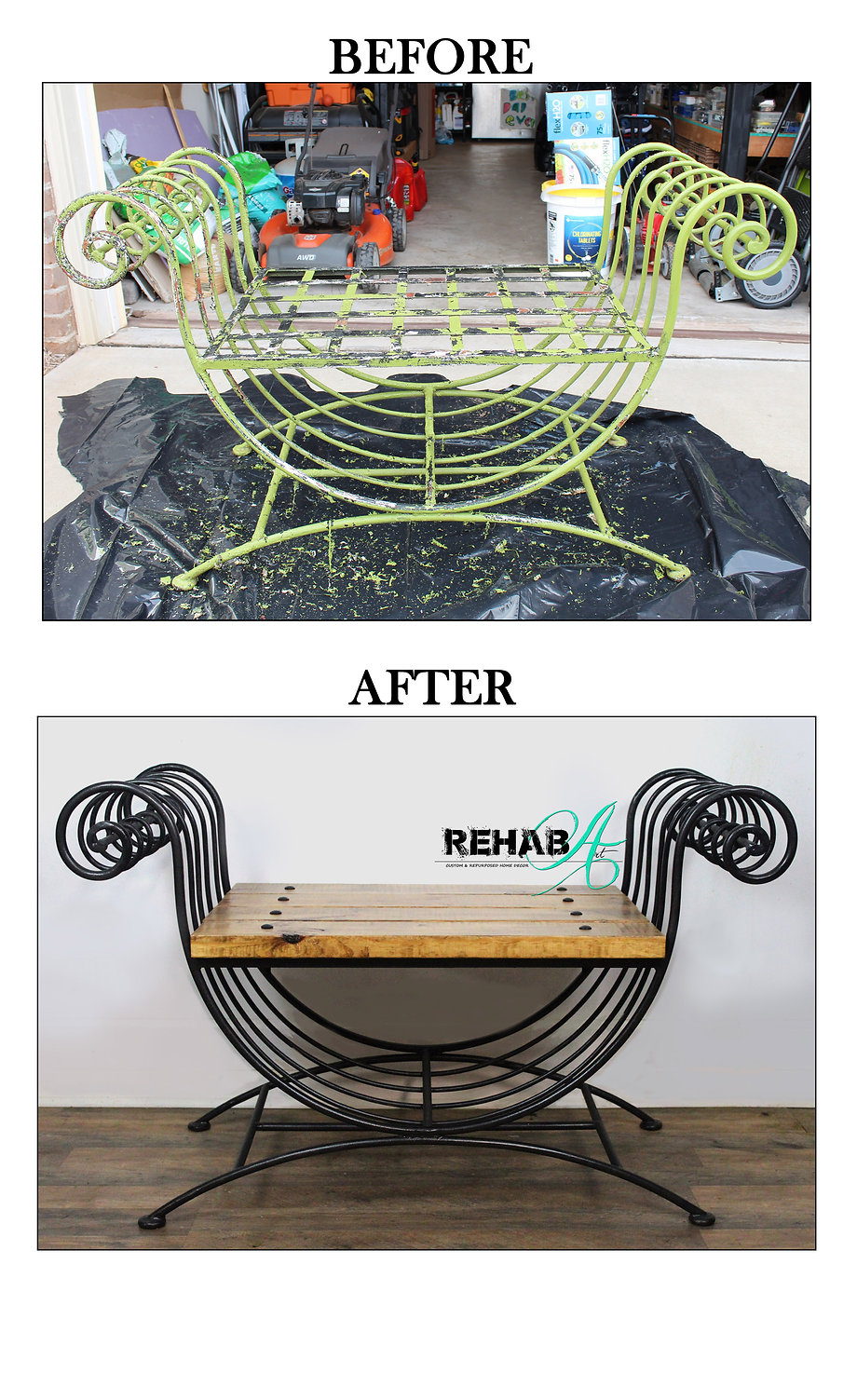 Wrought iron SAWG bench before and after