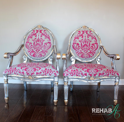 """Mixed Metal Damask Stencil"" Chairs"