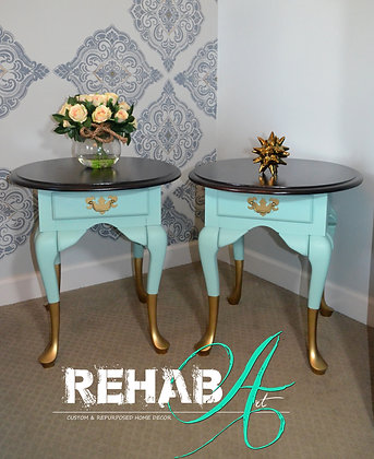 """""""Gold Dipped Aquamarine"""" Side Table Set"""