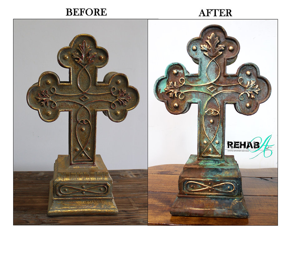 Patina and Gold Cross before and after p