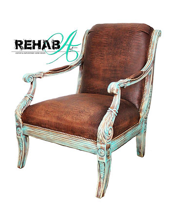 Aqua and Brown Crosby Accent Chair