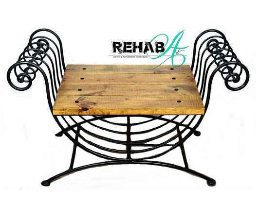 """Wrought Iron """"SWAG"""" Bench"""