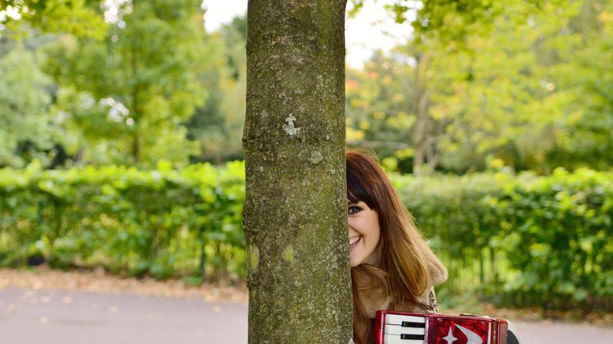 Helen playing accordion