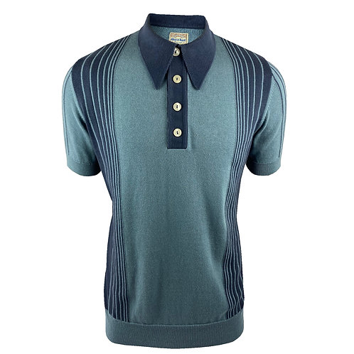 Ska & Soul Border Stripe Fine Gauge Spear-Point Polo SS/2375 Denim