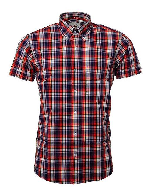 Relco Short Sleeved Check Shirt in Navy