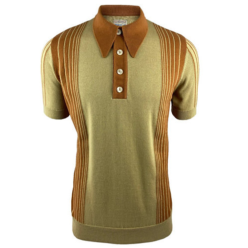 Ska & Soul Border Stripe Fine Gauge Spear-Point Polo SS/2375 Sand