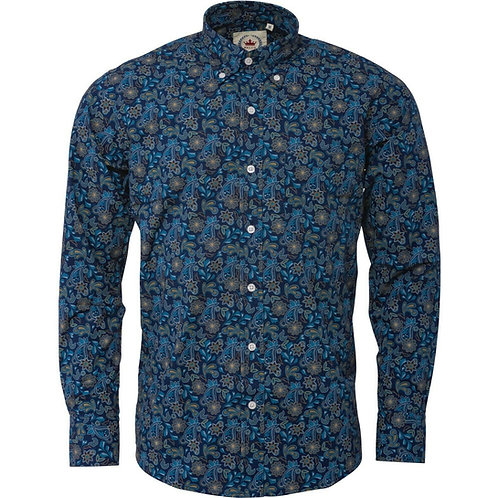 Relco London Paisley Shirt in Blue