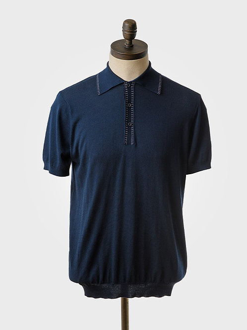 Art Gallery Knitted Polo Shirt in Navy