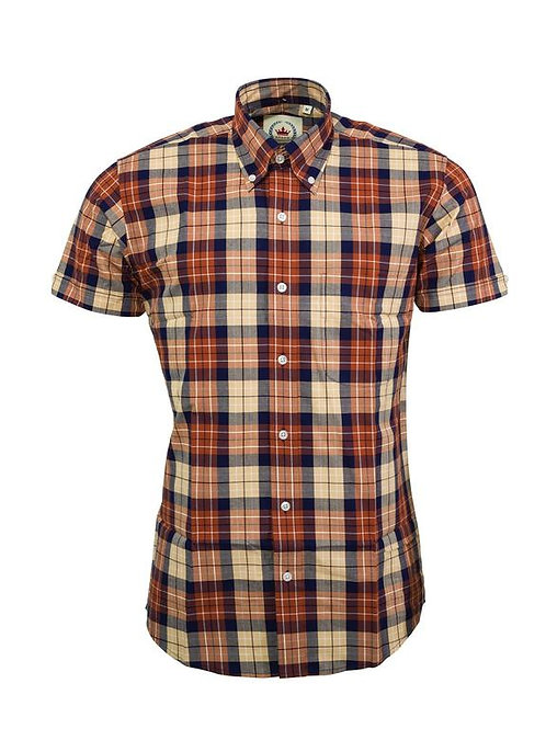 Relco London Check shirt in Brown