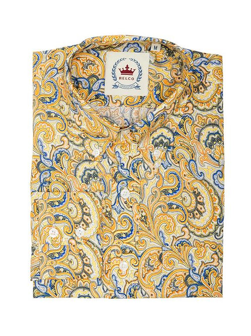 Relco Paisley Shirt in Mustard