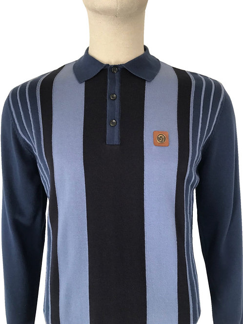 Trojan Stripe Front Knitted Polo Blue