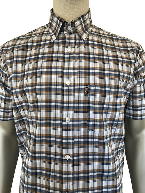 Trojan Check Shirt  Tan Matching Pocket Square