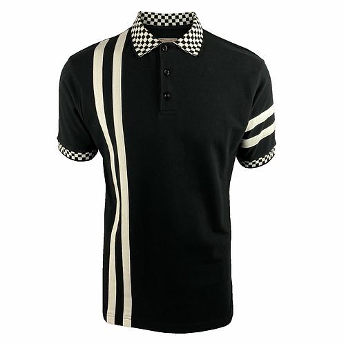 Ska & Soul Twin-Stripe Chequerboard Pique Polo SS/2416 Black
