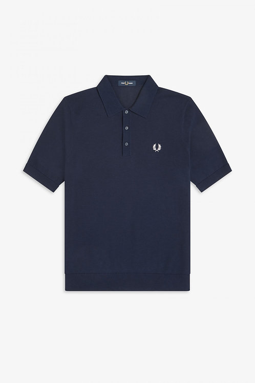 Fred Perry Knitted Polo Shirt in Blue