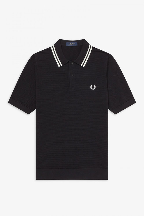 Fred Perry Twin Tipped Knitted Polo Shirt in Black