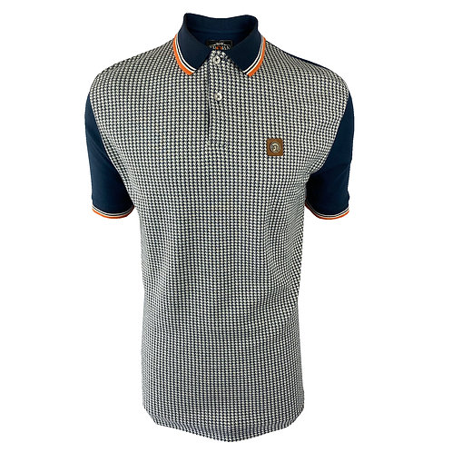 Trojan Houndstooth Panel Polo TR/8569 Navy