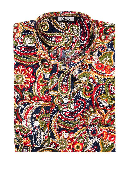 Relco Paisley Shirt in Navy/Green