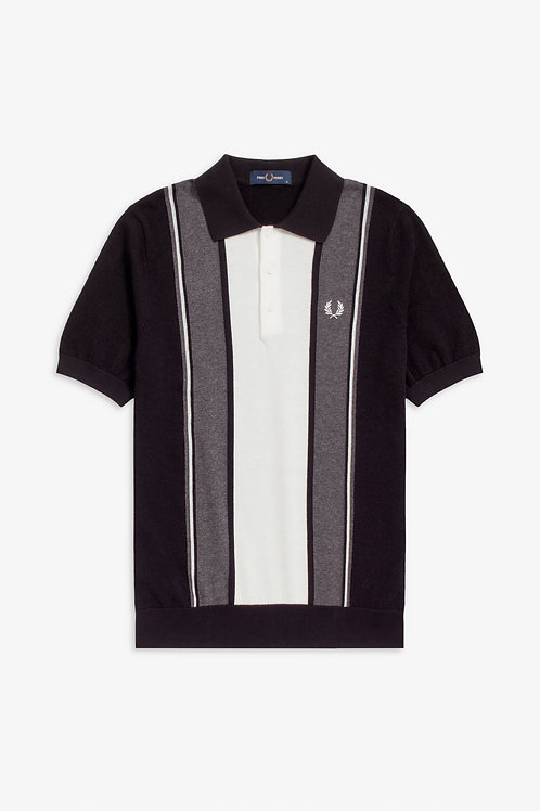 Fred Perry Striped Knitted Polo Shirt in Black