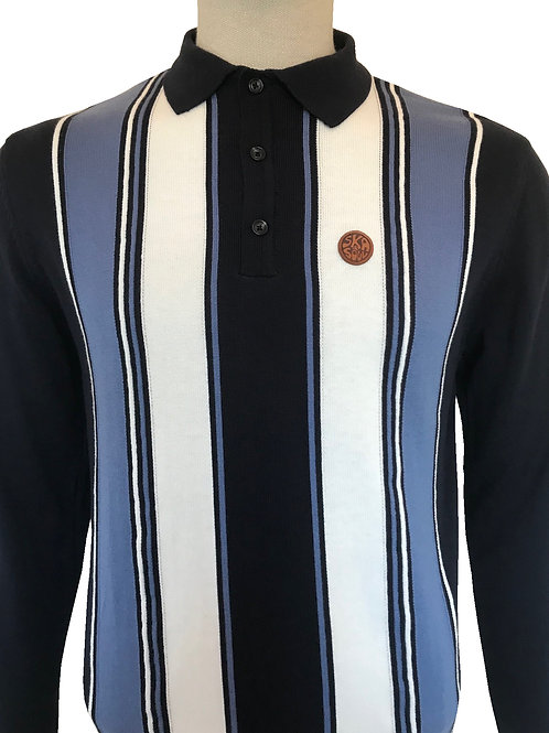 Ska and Soul Stripe Front Knitted Polo Navy