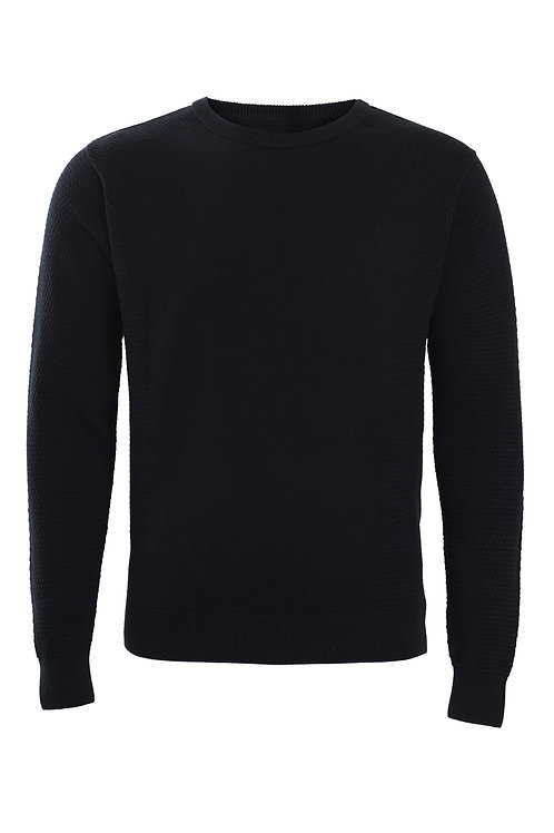 Swade Crew Neck Textured Jumper in Black