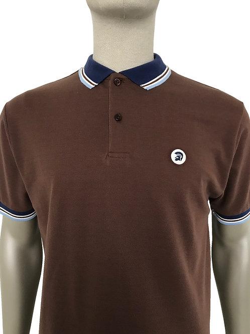 Trojan Contrast Trim Polo Shirt Chocolate