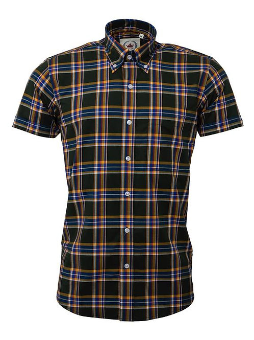 Relco Short Sleeved Check Shirt in Green