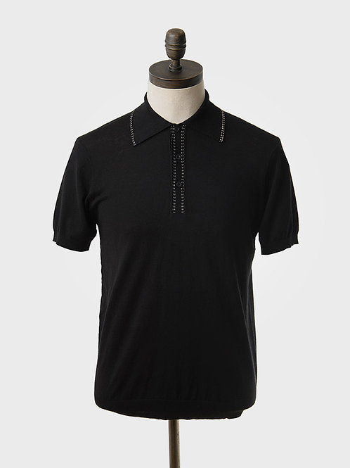 Art Gallery Bryd Knitted Polo Shirt in Black