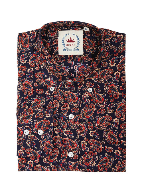 Relco Paisley Shirt in Navy/Red