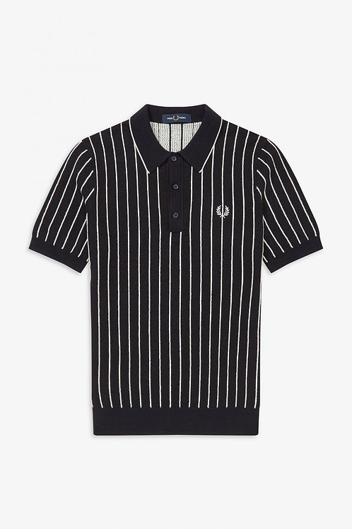 Fred Perry Striped Knitted Polo Shirt in Navy