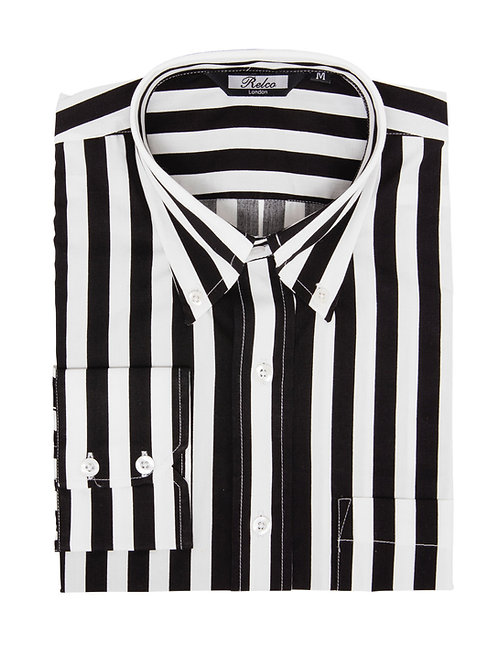 Relco London Stripe Shirt Black/White