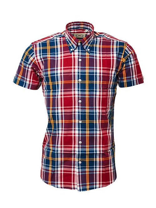 Relco London Check shirt in Burgundy