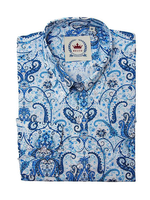 Relco London Paisley Shirt in Blue and White