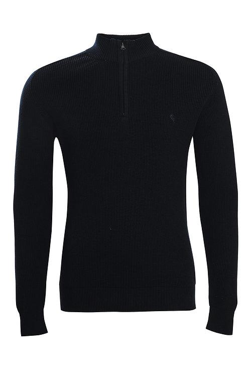 Swade Funnel Neck Half Zip Jumper in Black