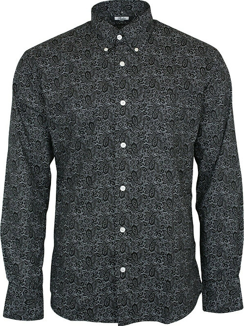 Relco London Paisley Shirt in Black